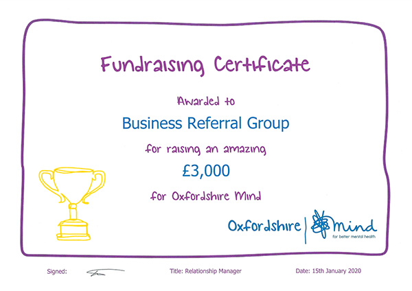 MIND Charity Certificate